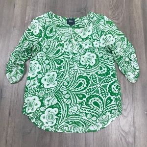 Maeve Green & White Henley Blouse Small